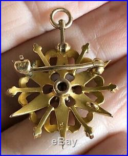 Antique Victorian Edwardian 14k Gold Seed Pearl Radiating Sun Brooch Pin Pendant