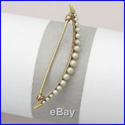 Antique Victorian Edwardian Crescent Moon 14k Gold Pearl Brooch Pin