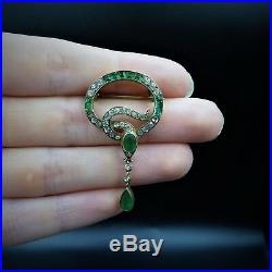 Antique Victorian Emerald Green Paste Snake Serpent Gold on Silver Brooch Pin