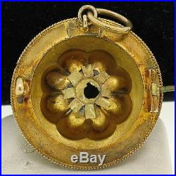 Antique Victorian Etruscan 15k Solid Gold Hair Picture Locket Brooch Pin Pendant