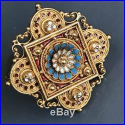 Antique Victorian Etruscan Revival 15 kt Gold Enamel Brooch Pin