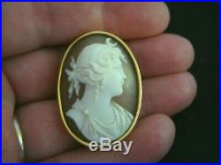 Antique Victorian Finely Carved Shell Cameo & Heavy Gold Diana Brooch Pin
