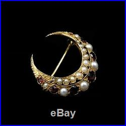 Antique Victorian Garnet and Pearl Crescent Moon 9ct 9K Yellow Gold Brooch Pin