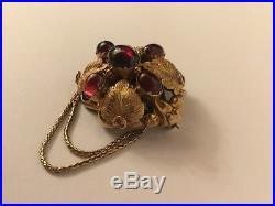 Antique Victorian Gold Garnet 18ct 18k Garnet Cabochon Brooch Pin