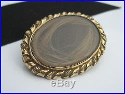 Antique Victorian Gold Rock Crystal Hair Locket Mourning Mori Memento Brooch Pin