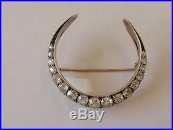Antique Victorian Gold & Silver Set Diamond Crescent Brooch/pin. C. 1880