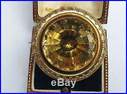 Antique Victorian Gold over Silver Huge Natural Citrine Brooch Pin Jewellery