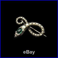 Antique Victorian Green Paste and Pearl Snake Serpent Gold on Silver Brooch Pin