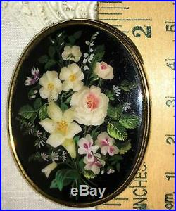 Antique Victorian Hand Painted Flower Bouquet Floral Rose MOP Brooch Pin 9K Gold