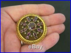 Antique Victorian Heavy 15ct Gold & Almadine Garnet Etruscan Brooch Pin
