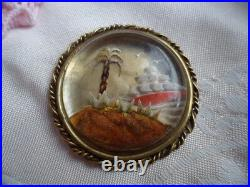 Antique Victorian Jewellery Gold Picture Brooch Pin Sailing Ship Vintage Jewelry