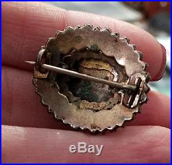Antique Victorian Low Karat Gold BOHEMIAN Garnet CABOCHON Cluster Brooch Pin