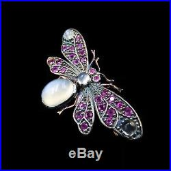 Antique Victorian Moonstone and Ruby 18ct Gold Insect Moth Bug Brooch Pin