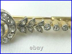 Antique Victorian Old Cut Diamond Brooch Pin 18ct Gold Platinum