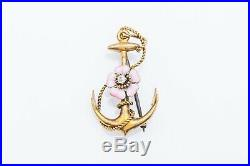Antique Victorian Pansy ANCHOR Pink Enamel FLOWER Diamond 14k Gold Brooch Pin