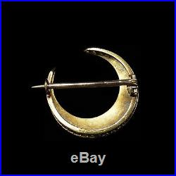 Antique Victorian Pearl Crescent Moon 15ct 15K Yellow Gold Brooch Pin c. 1890