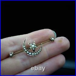 Antique Victorian Pearl Crescent Moon & Star 15ct Gold Bar Brooch Pin c. 1890