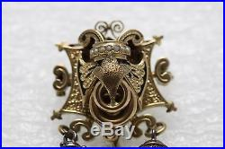 Antique Victorian Pendant Brooch Pin Tasseled Enameled 14K Yellow Gold Charming