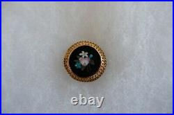 Antique Victorian Period Pietra Dura Gold Framed Brooch Or Pin C1850's