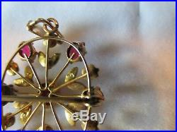 Antique Victorian Ruby Seed Pearl Brooch Pin Pendant Lavaliere 9ct Yellow Gold