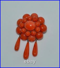 Antique Victorian Salmon Coral Cabochon 3-Dangle Pin Brooch 14 Kt Gold