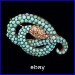 Antique Victorian Snake Brooch Cabochon Turquoise 12k Gold and Silver (4235)