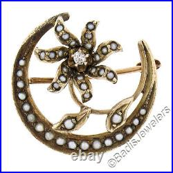Antique Victorian Solid 10K Yellow Gold Pearl Diamond Crescent Flower Brooch Pin