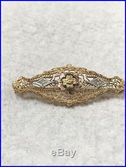 Antique Victorian Solid 14k Rose Gold & Diamond Filigree Brooch Pin