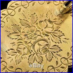 Antique Victorian Starburst Motif 14K Gold Rose-Cut Diamonds Enamel Brooch / Pin