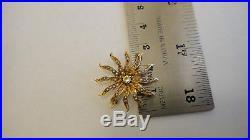 Antique Victorian Sunburst 1797 14k Gold Seed Pearl Brooch Pendant Pin Starburst