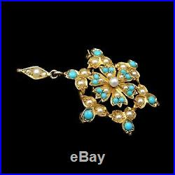 Antique Victorian Turquoise and Pearl Star Yellow Gold Pendant and Brooch Pin