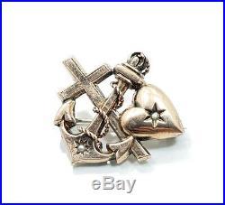 Antique Victorian Vintage 10k 9k Rose Gold Pearl Heart Anchor Cross Brooch Pin