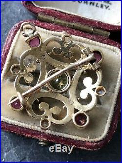 Antique Victorian Yellow Gold Enamel Diamond Peridot Amethyst Brooch Pin Pendsny