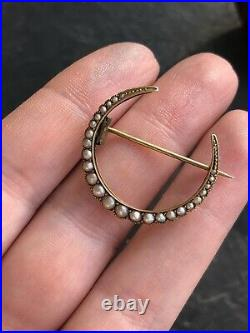 Antique Victorian Yellow Gold Pearl Crescent Brooch Pin