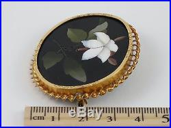 Antique Victorian c1870 Pietra Dura White Lily 14K Yellow Gold Brooch / Pin, Ita