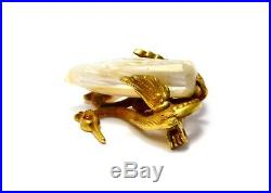 Antique Victorian gold filled swans dog tooth pearl brooch pin