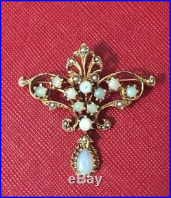 Antique Vintage 14K (585) Gold Opal & Seed Pearls Pin Brooch Pendant Victorian