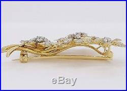 Antique Vintage 18K Gold 1.8 ct Transition Cut Diamond Flower Brooch / Pin