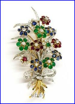 Antique Vintage 18K Yellow Gold French Diamond Ruby Emerald Sapphire Brooch Pin
