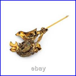 Antique Vintage Deco Sterling Silver Gold Akoya Pearl Bird Nest Pin Brooch 5.8g