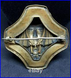 Antique Vintage Egyptian Revival Sphinx Art Deco Nouveau Gold Jeweled Brooch Pin