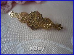 Antique Vintage Gold Bar Brooch pin with Victorian Pattern