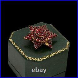 Antique Vintage Nouveau 14k Gold Filled GF Bohemian Garnet Star Pin Brooch 6.7g
