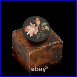 Antique Vintage Nouveau Gold Filled GF Onyx Pietra Dura Floral Pin Brooch 8.9g