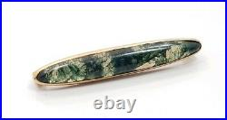 Antique Vintage Victorian Green Moss Tree Agate 10k Yellow Gold Brooch Pin