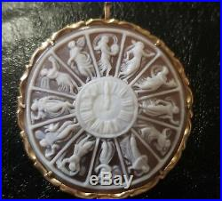 Antique cameo brooch pin pendant 14K yellow gold hand carved shell ornate zodiac