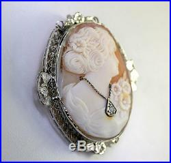 Antique diamond cameo brooch pin pendant 14K white gold. 03CT round carved shell