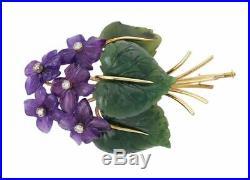 Art & Crafts Suffragette Floral Spray Brooch Pin Carved Amethyst Diamond Jade