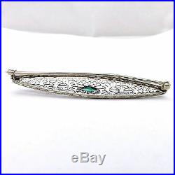 Art Deco 10k White Gold Fancy Shaped Emerald May Birthstone Bar Brooch Pin 2.8Gr