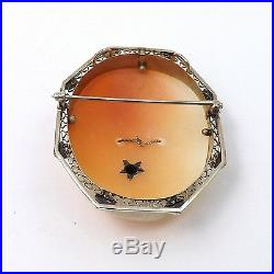 Art Deco 14K Gold Diamond Habille Necklace Carved Shell Cameo Brooch Pin Pendant